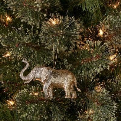 Elephant on a ball Blown Glass Figurine Christmas tree ornament