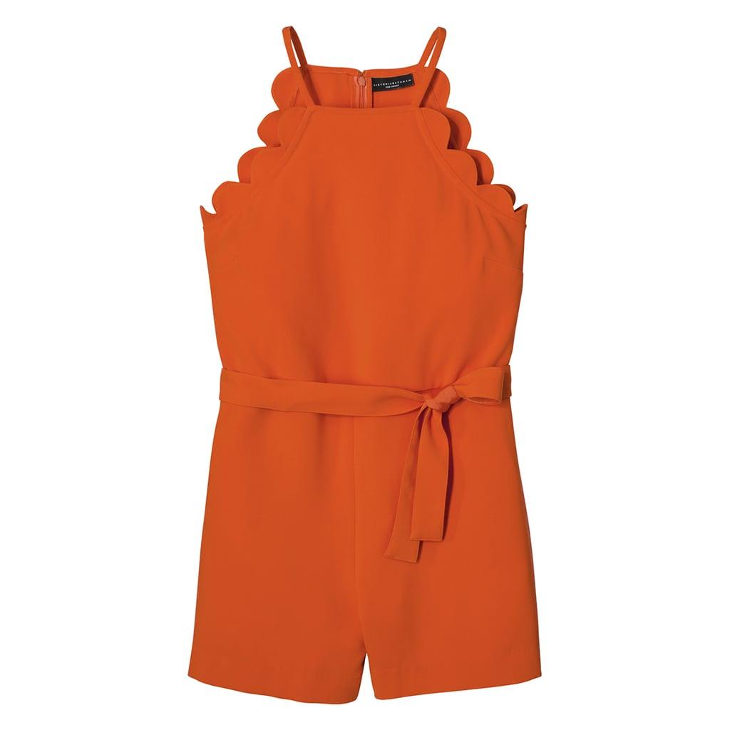 Orange Scallop Tie Waist Romper ($35)