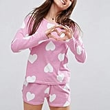 ASOS Heart Print Long Sleeve Tee & Short Pyjama Set