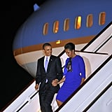 The Obamas arrived in the UK for a trip in May.