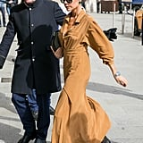 Victoria Beckham Tan Pleated Dress in Paris
