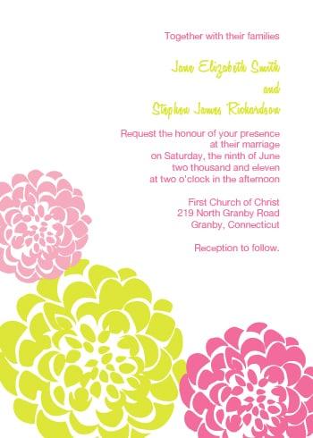 Pink and Gold Chrysanthemum Wedding Invitation