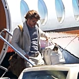 Brad Pitt joined his family on a private jet while traveling home from vacation in the Galapagos Islands.