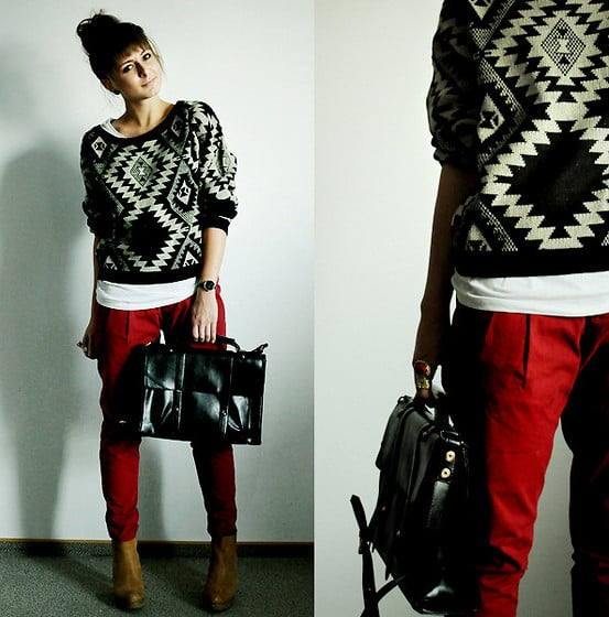 Proof that a statement knit is a seriously awesome outfit addition, though we're sure that these red pants had a hand in the cool results too.