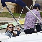 Isla Fisher relaxed on a boat with Sacha Baron Cohen for his 40th birthday.