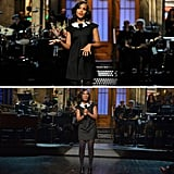 Just days after news of her pregnancy broke, Washington opened her episode of SNL in a black A-line dress with a single pleat at the front.