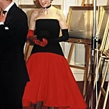 She dressed to the nines to attend the America's Cup Ball at the Grosvenor House hotel in London in September 1986.