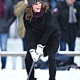 January: Kate got super competitive during a hockey match in Sweden.