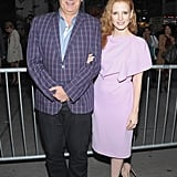 Moisés Kaufman joined Jessica Chastain on opening night.
