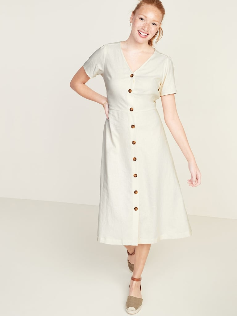 Fit & Flare Button-Front Linen-Blend Midi Dress