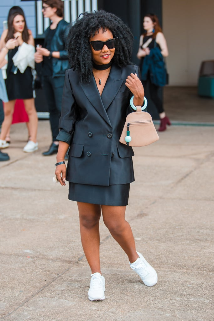 Wear Your Skirt Suit With Crisp White Sneakers