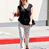 Witherspoon strolled around Brentwood in quirky bicycle-print denim by Paige.