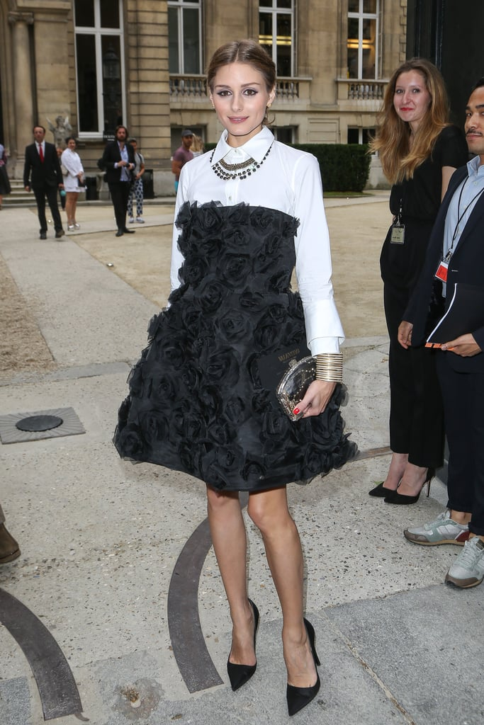 Olivia Palermo paired a plain white shirt with a black cocktail dress for the Valentino Couture show.