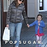 Jennifer Garner stopped by Brentwood Country Mart with Seraphina Affleck in LA.