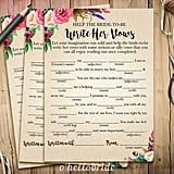Write Her Vows Printable Bridal Shower Game