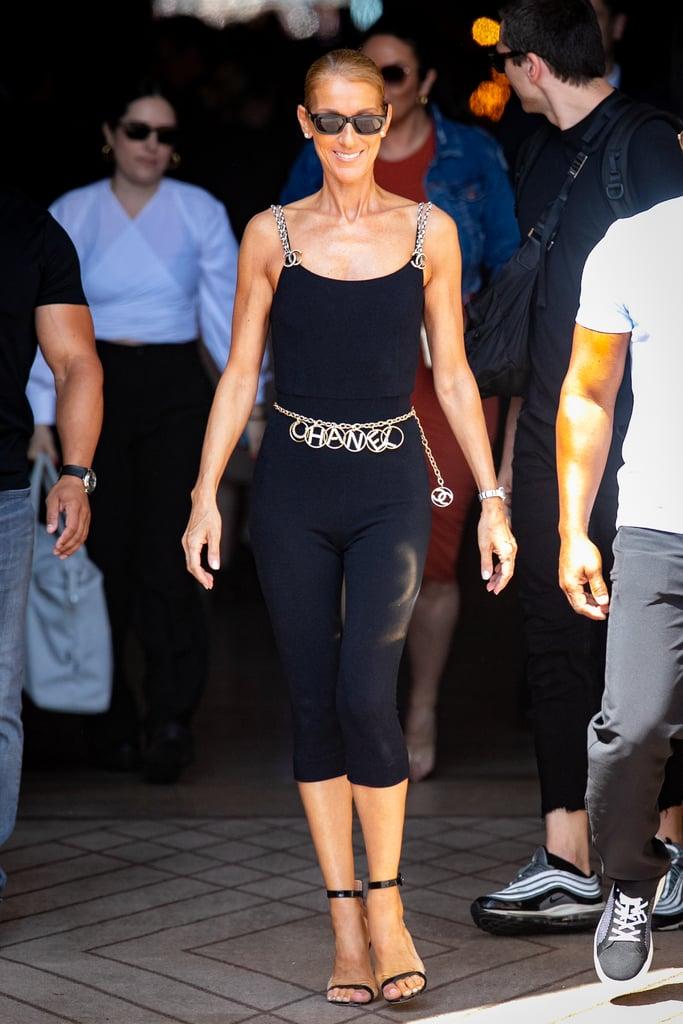 Celine showed off a Chanel unitard and logo-adorned belt.