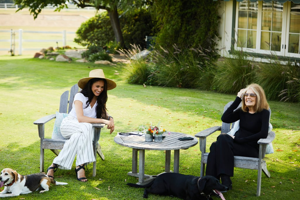 I saw the Duchess of Sussex wearing striped pants and a sun hat, so I bought striped pants and a sun hat. Meghan Markle and Gloria Steinem recently joined forces for a powerful discussion about social action, voting, and gender equality in collaboration with media company Makers Women, and the sneak peek of their chat is a must-watch. The conversation took place in Meghan's California backyard and even featured a cameo from her dogs. As the two women discussed the hard-hitting and incredibly relevant topics, Meghan's laid-back vibe was palpable through her outfit. Wearing a white T-shirt, Anine Bing striped trousers, Stella McCartney sandals, and a fabulous Janessa Leoné sun hat, we can say with conviction that California living looks good on Meg. It should come as no surprise that Meghan chose a white outfit for her conversation with the activist and feminist icon, as the color is used to represent the women's suffrage movement. Whether it's a blue tank top, a chambray shirt, or even her favorite pair of jeans, Meghan knows how to make a statement in her style choices. Check out Meghan's exact outfit from her chat with Gloria ahead, then check out all of her go-to style rules (which include occasionally repeating outfits — duh).      Related:                                                                                                           Meghan Markle and Gloria Steinem Enjoy a Candid Chat About Voting and Women's Rights