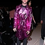 Brad Goreski wore a pink metallic coat at the Carolina Herrera fashion show in NYC in February.