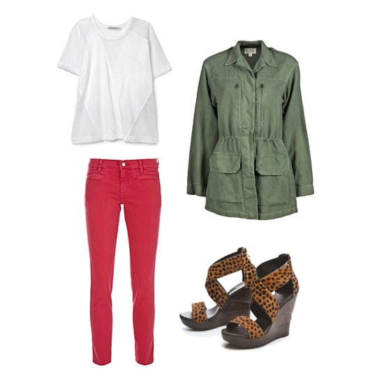 A cool-girl riff on red jeans revolves around pattern and color play, with the necessary on-trend staples: an army jacket provides a great contrast and a pair of leopard-print wedges finish the look with personality. Casual enough to run errands but dressed-up enough to feel confident when you run into, well, just about anyone, on your way. Get the look:   MIH Paris Cropped Mid-Rise Skinny Jeans ($185) T by Alexander Wang Net Combo Raglan Tee ($77, originally $110) Nili Lotan Army Jacket ($555) Diane von Furstenberg Opal Haircalf Crisscross Wedge Sandals ($298)