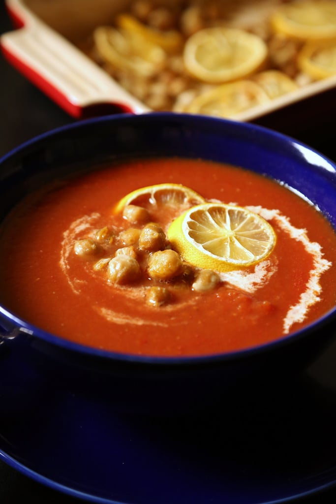 Cream of Tomato Soup With Crunchy Lemon Chickpeas