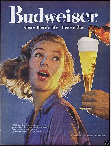 In 1960, this young woman couldn't keep her eyes off the beer.