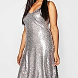 Boohoo Sequin Plunge Midi Slip Dress