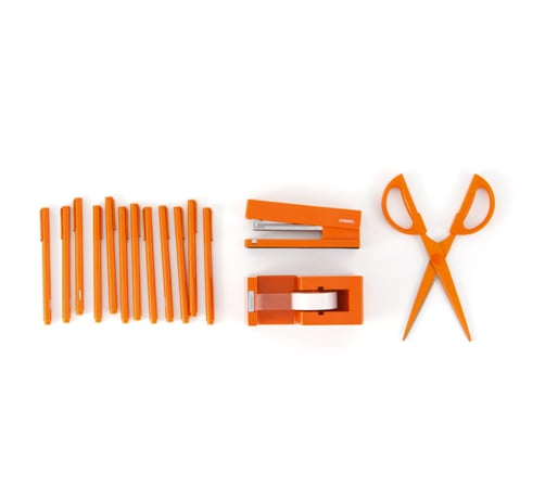 Outfit your desk in one of the season's most festive colors with a Poppin' Orange Tool Kit ($49) that will have you stapling, tapin, writing, and cutting in style.