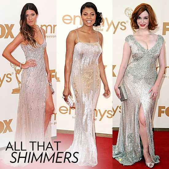 Pictures of Christina Hendricks, Rachel Taylor, Elisabeth Moss and more wear metallic, high shine dresses at the 2011 Emmys!