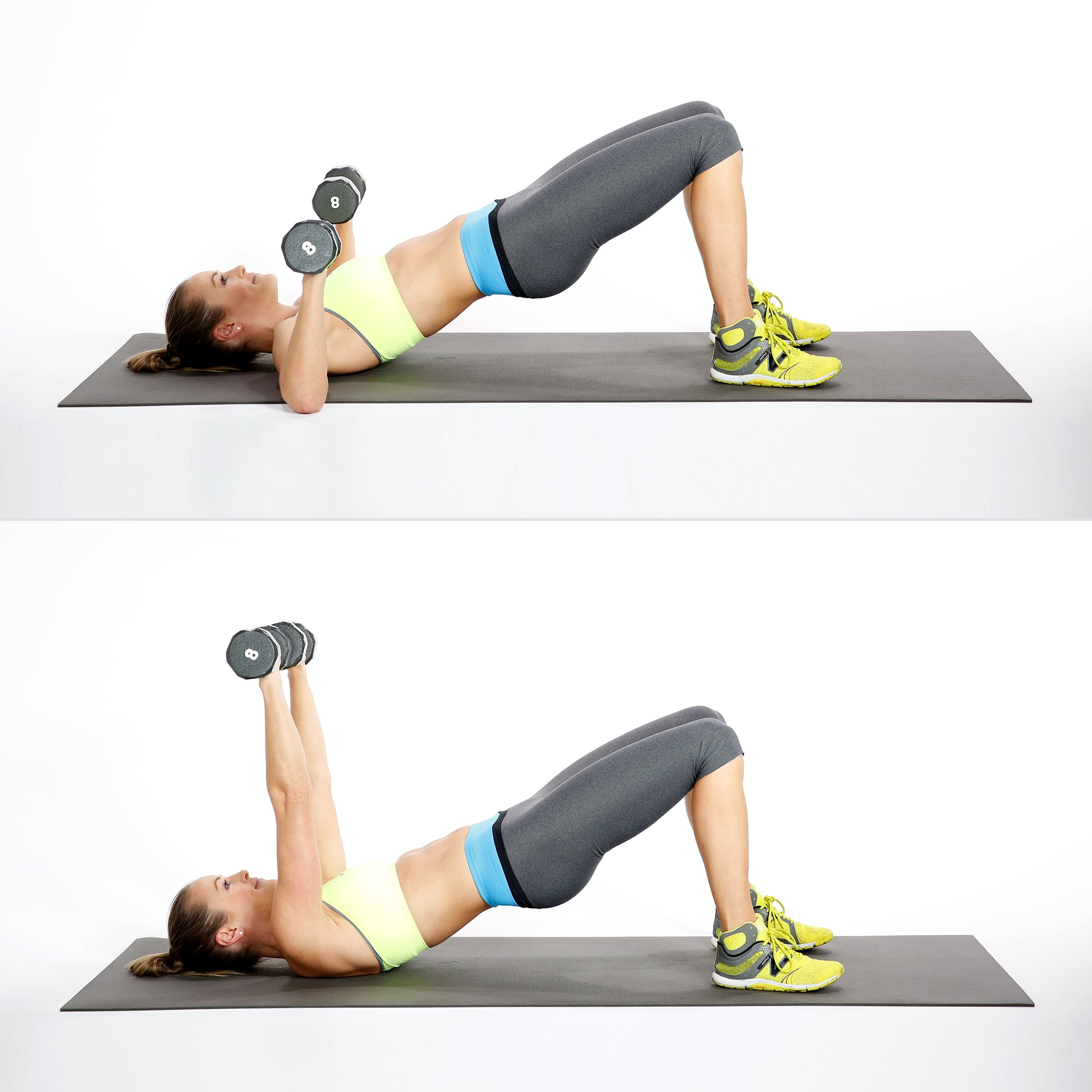 Bridge With Chest Press | Here Are the 30 Most Effective Exercises For  Sculpted, Sexy, Strong Arms | POPSUGAR Fitness Photo 25