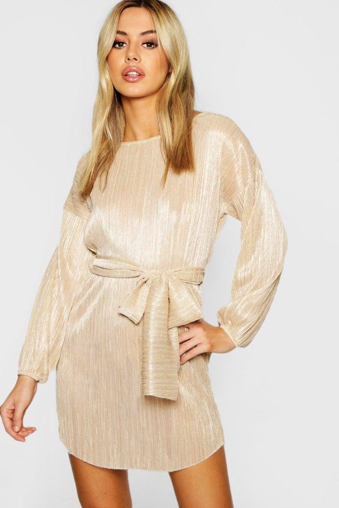 d2412d496285e Petite Oversized Metallic Dress ($45)   Boohoo Party Dresses ...