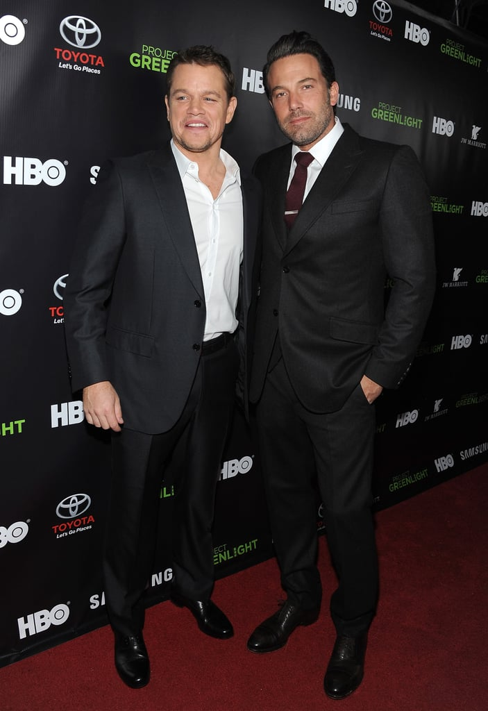"""Matt Damon and Ben Affleck reunited on the red carpet on Friday night when they stepped out to promote the return of their series, Project Greenlight, to HBO. The two longtime friends have one of the best-documented friendships in Hollywood, but they haven't made a joint event appearance since January when they both attended the 2014 Screen Actors Guild Awards. Before that, Ben and Matt hadn't attended a public event together since January 2013, when Matt was on hand to honor Ben at the Santa Barbara International Film Festival. However, that doesn't mean that the pair haven't been connected, as they teamed up for an Omaze sweepstakes back in February to raise money for their favorite organizations, Eastern Congo Initiative and Water.org. Before heading into the event, Matt joked that he is very familiar with Ben's private parts when asked about his pal's now-infamous Gone Girl full-frontal scene. """"Oh, I've seen it many times before [Gone Girl],"""" Matt said."""