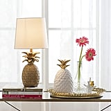 Creative Co-Op White & Gold Ceramic Pineapple Container