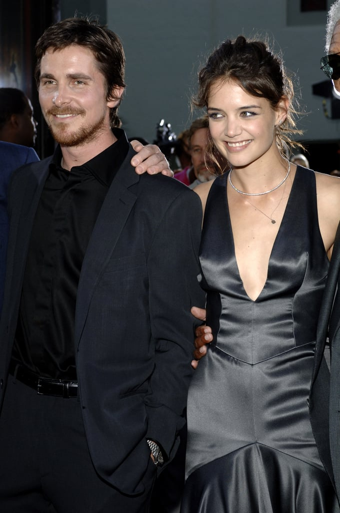 Katie Holmes posed with Christian Bale at the Batman Begins premiere in June 2005.