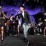 Pharrell put on a show at Clive Davis's gala.