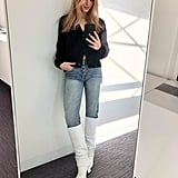 How I Styled My Straight-Leg Jeans: With A Cardigan, Knee-High Boots, And Jewellery