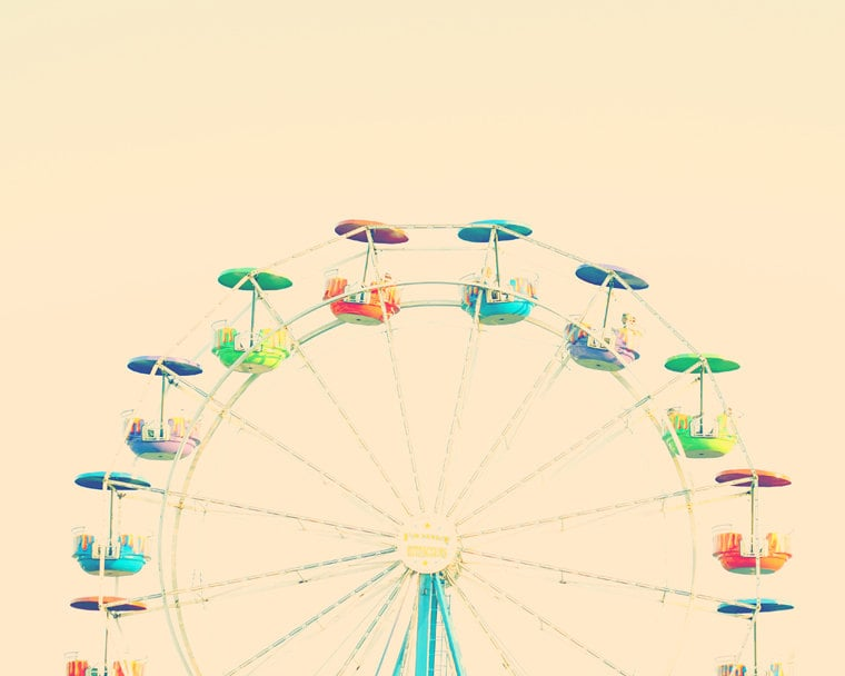 This retro-style rainbow Ferris wheel print ($21) is great for bedroom and playroom alike.