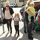 Bronx Wentz played on an iPad while Ashlee Simpson and Jessica Simpson arrived at a restaurant.