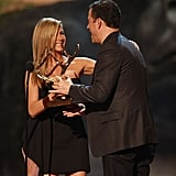Jennifer Aniston shared a laugh with Jimmy Kimmel in 2013.
