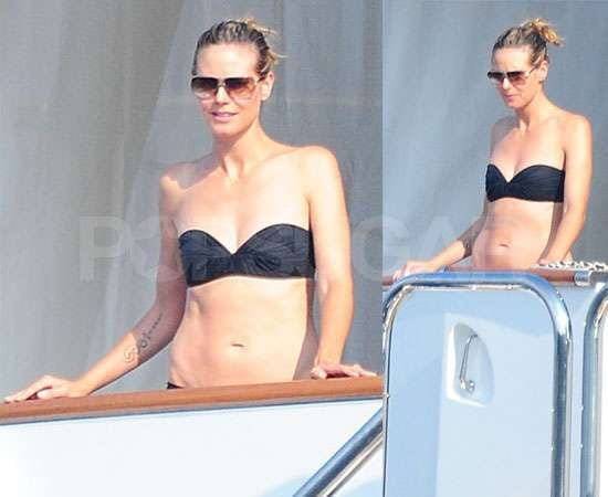 Pictures of Heidi Klum in Bikini in South of France With Kids Lou, Leni, Johan and Henry Plus Seal on a Jet Ski