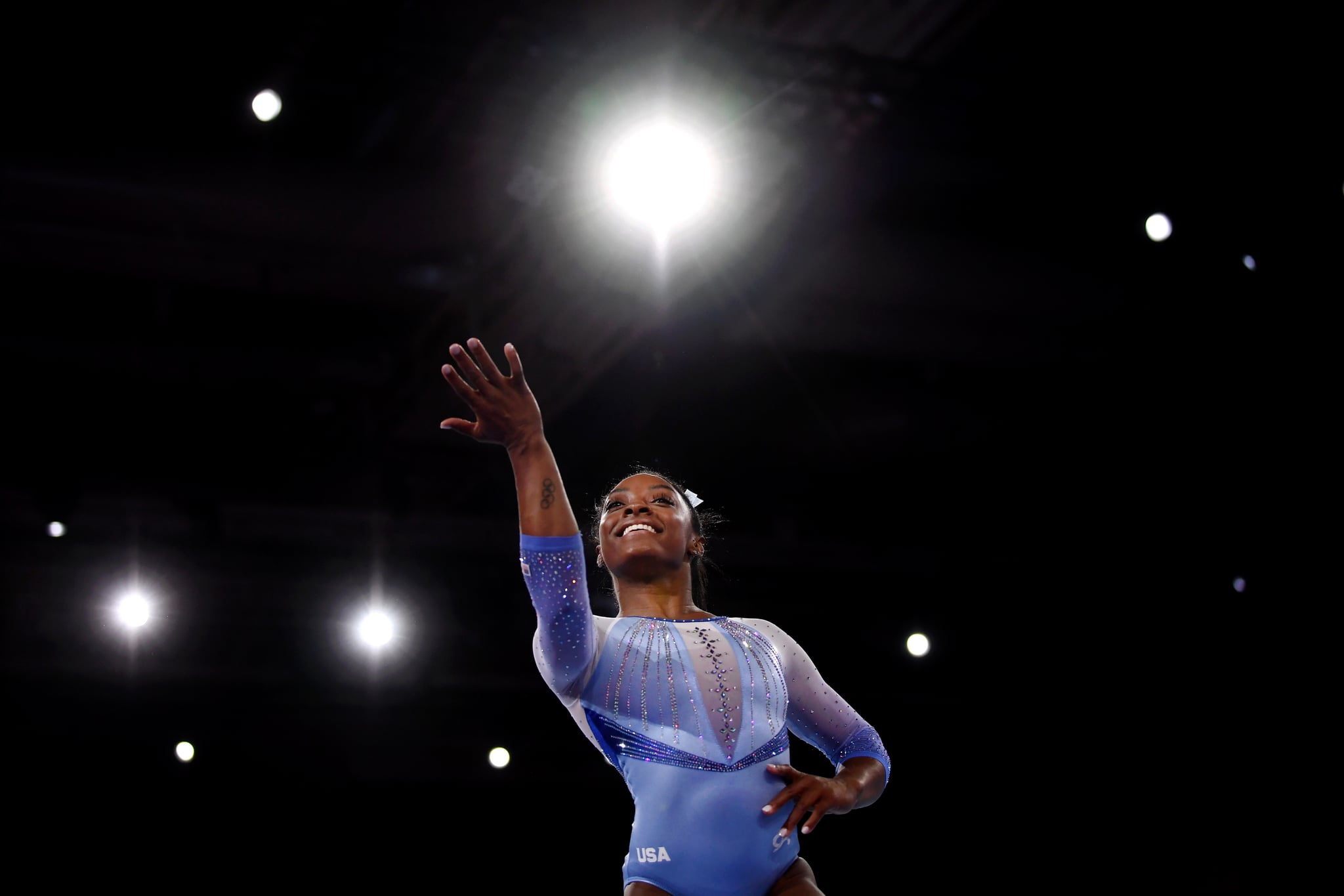 STUTTGART, GERMANY - OCTOBER 05: Simone Biles of USA performs on Floor during Women's Qualification on Day 2 of the FIG Artistic Gymnastics World Championships on October 05, 2019 in Stuttgart, Germany. (Photo by Laurence Griffiths/Getty Images)