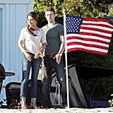 Justin Timberlake and Mila Kunis shared the LA set of Friends With Benefits with an American flag in August 2010.