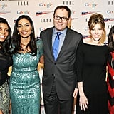 Actresses Taraji P. Henson, Rosario Dawson, Robbie Myers, and Kerry Washington stopped for a snapshot with Hearst President David Carey.