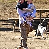 Hilary Duff took her son, Luca, to an LA dog park on Saturday.