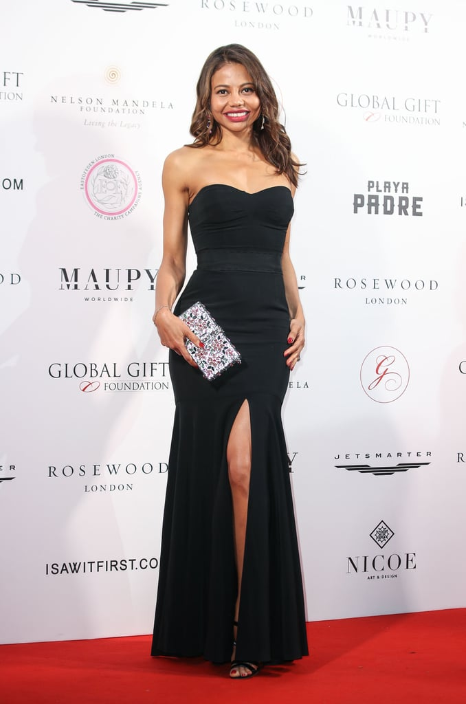 In a strapless, leg-split black gown at the Nelson Mandela Global Gift Gala in 2018.