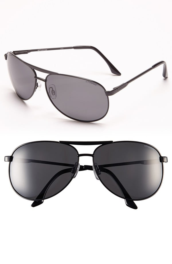 Polaroid Eyewear 68mm Polarized Metal Aviator Sunglasses ($60)