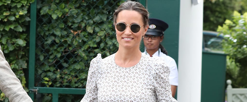 Pippa Middleton White Printed Dress at Wimbledon July 2018