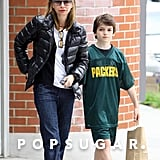 Calista Flockhart got a jump on the Mother's Day fun with son Liam Saturday in LA.