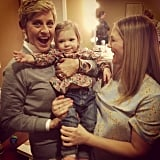 Drew Barrymore and Olive hung out backstage with Ellen DeGeneres this week. Source: Instagram user drewbarrymore