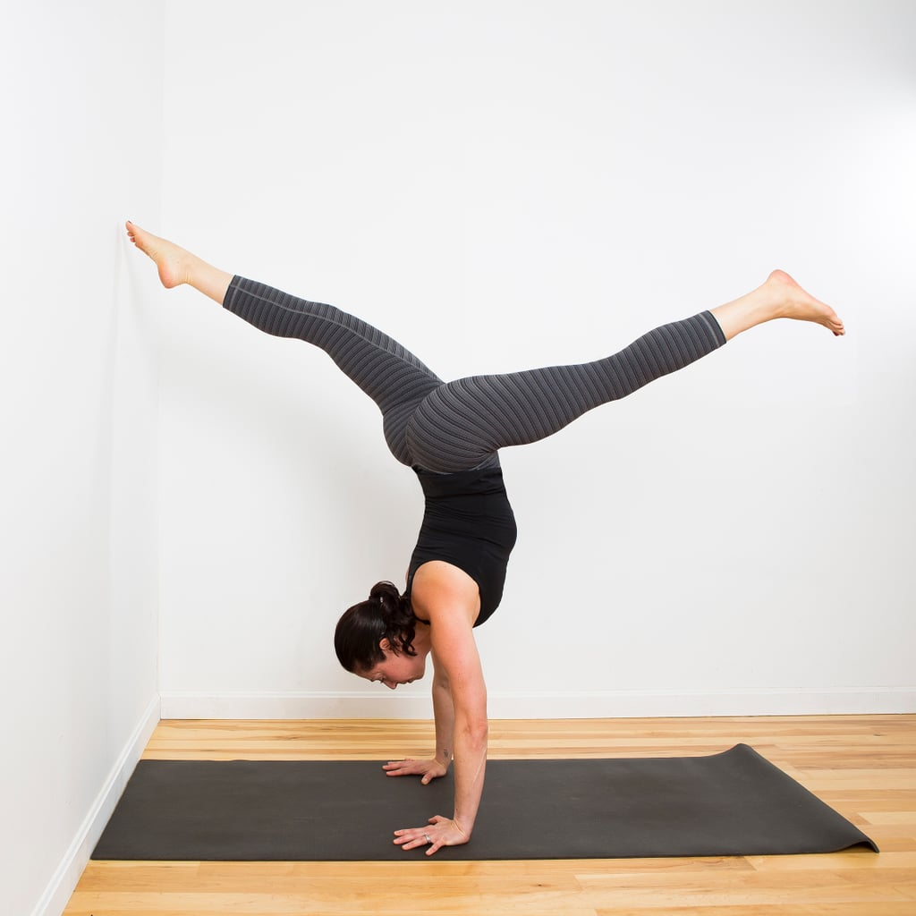 Lateral wall walks how to do a handstand popsugar for Split wall