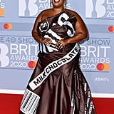 Lizzo in a Custom Moschino Hershey's Gown at the BRIT Awards 2020